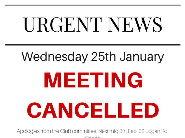 25/01/2017 meeting cancelled