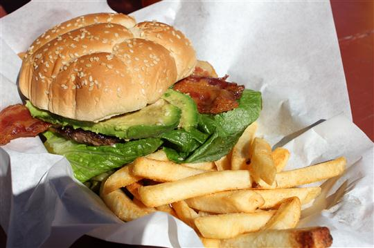 The buffalo burger from DC3 Grill & Cafe at Catalina Island's Airport in the Sky