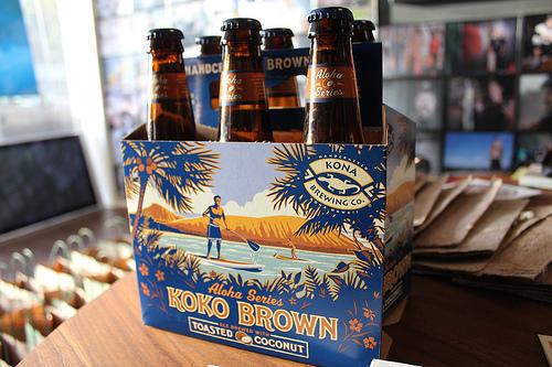 A six pack of Koko Brown, a seasonal beer from Kona Brewing.