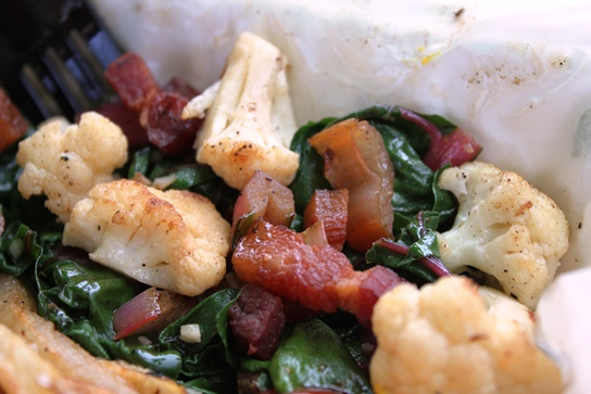 Swiss Chard with Cauliflower and Bacon