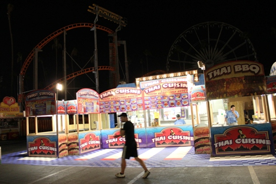 Thai Cuisine with a roller coaster in the background...only at the LA County Fair!