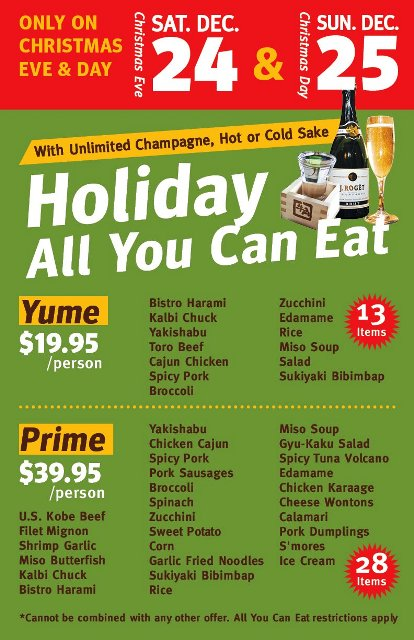 all you can eat holiday specials at gyu kaku torrance