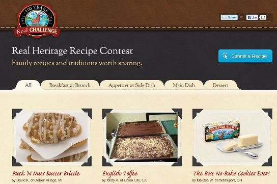 challenge butter real heritage recipe contest homepage