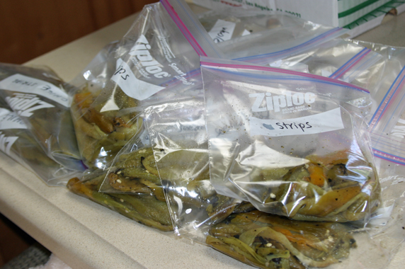Once peeled and seeded, they are placed in Ziploc bags