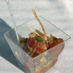 Ahi poke with won ton strips & cucumber