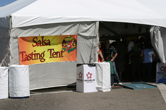 Entrance to the salsa tent