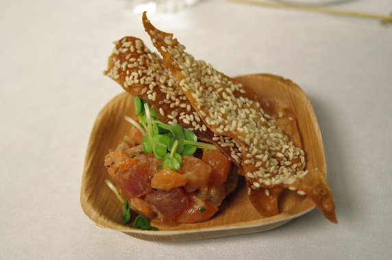salmon and tuna tartare with sesame won ton crisp