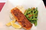 Blackened Salmon with potatoes and seasonal vegetables ($14.99).