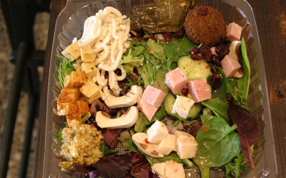 my salad - a sampling of a lot of items on the salad bar