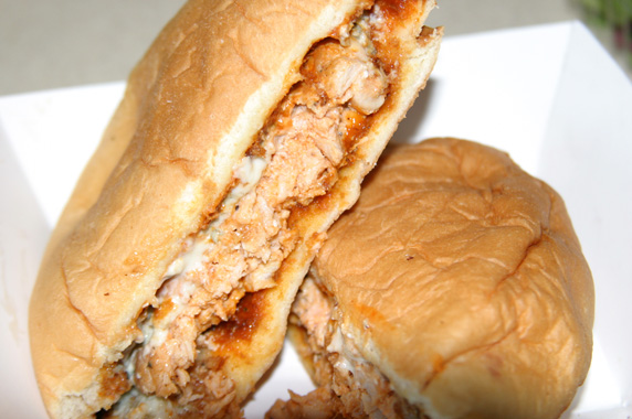 Buffalo Burger- Chicken patty covered in buffalo wing sauce and topped with crumbled blue cheese