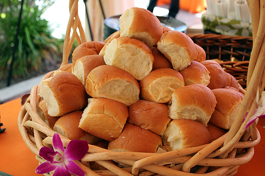 Stacks of King's signature Hawaiian sweet dinner rolls at the Project Mahalo luncheon.
