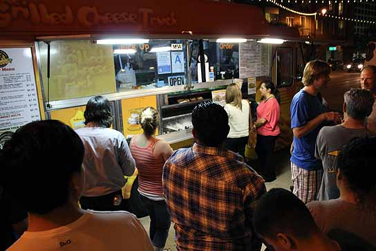 Waiting in line at the Grilled Cheese Truck during San Pedro's First Thursday Artwalk