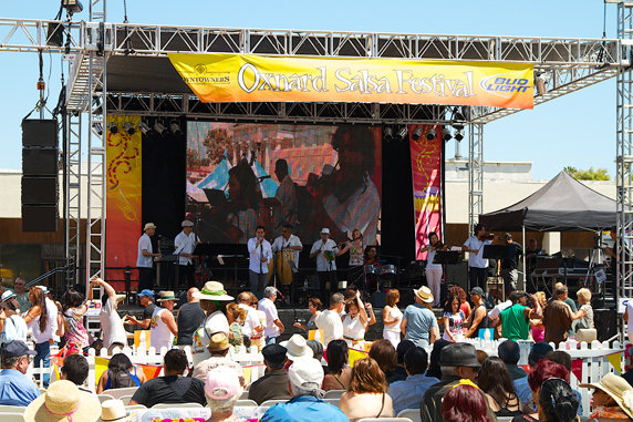 Band on the stage at the Oxnard Salsa Festival - Photo credit - Ken Jones