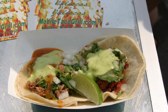 Carne asada and Salvadoran chorizo tacos from Jaliscos Mobile taco grill