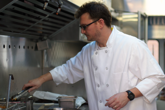 Chef Michael Israel inside his gourmet food truck