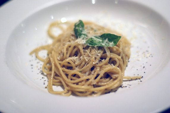 Spaghettini with a light anchovy sauce, fresh grated parmesan