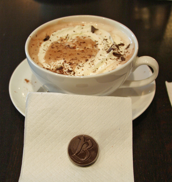 60% cacao dark chocolate with hot cocoa and whipped cream.