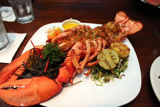 New England-style baked stuffed Maine lobster