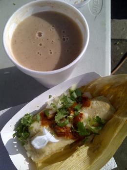 A single tamal & hot champurrado