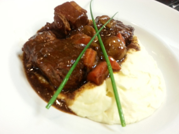 Beef Bourguignon with truffle mash