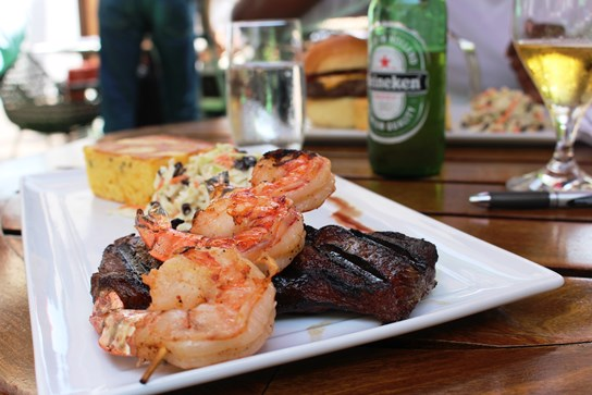 Surf and Turf; Steak and Shrimp, coleslaw, corn bread, beer