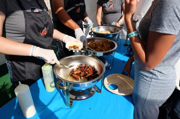 Mariscos el Mazateño serving up crunchy octopus & spicy shrimp tacos