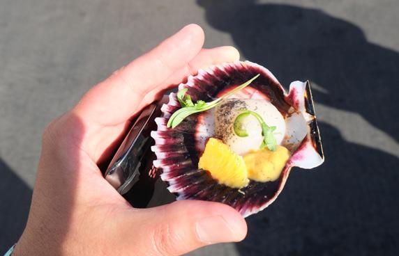 Peruvian scallops with Santa Barbara uni on the half shell