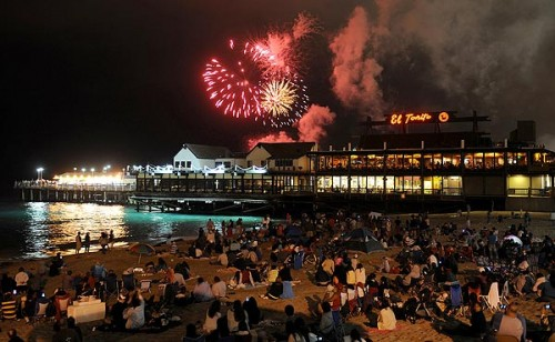View of the Redondo Beach fireworks show from the beach.