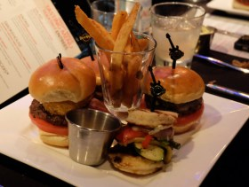 Hickory bacon cheeseburger, veggie leggie, fiesta burger and the mushroom swiss burger