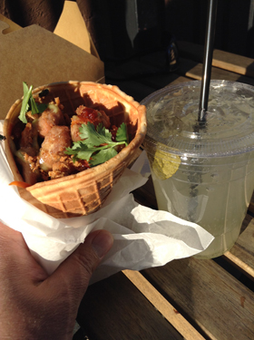 Indonesian fried chicken cone with kaffir limeaid
