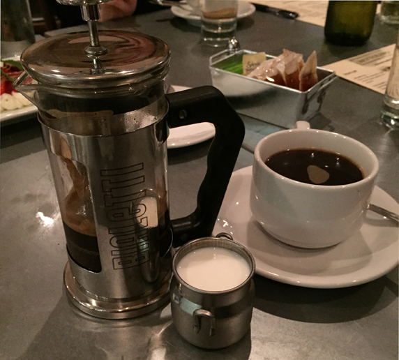 Coffee served from an Italian coffee press
