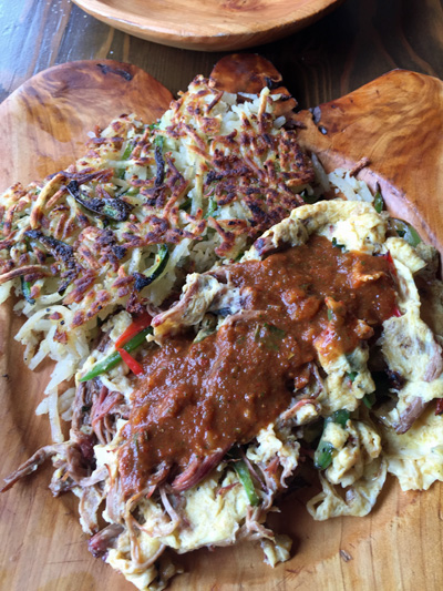 Machaca topped with salsa roja with Poblano potatoes
