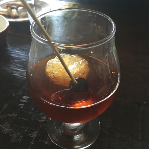 High West Rye, Bitters, Vermouth, Luxardo liqueur, ice sphere