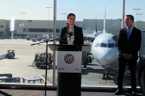 LAWA CEO Deborah Flint delivering her announcement.