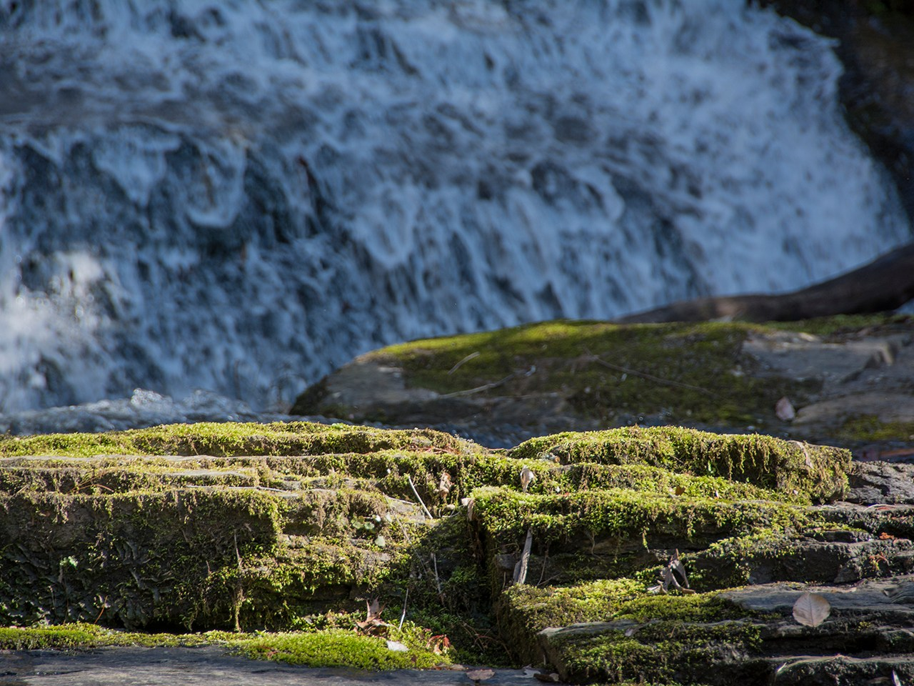 Photo of mossy rocks in front of a waterfall.