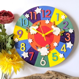 Rainbow Unicorns Clock