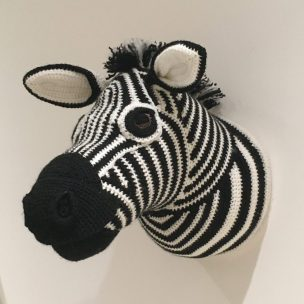 Zebra Trophy Head Crocheted