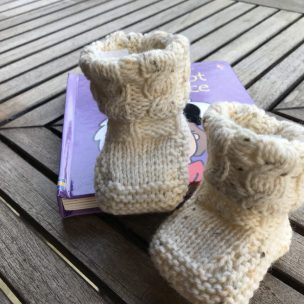 Cream cabled winter booties