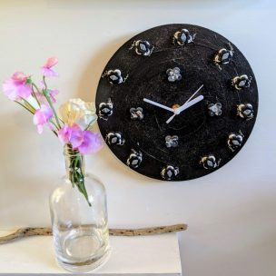 sparkly black clock