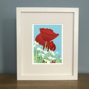 Poppies and Daisies framed