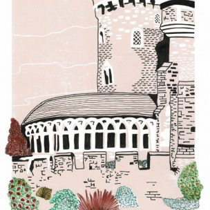 Devizes Castle Limited Edition Lino Print and Watercolour Unframed
