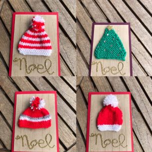 A set of 4 knitted Christmas cards