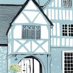 Lacock Cottage Limited Edition Lino Print and Watercolour Unframed