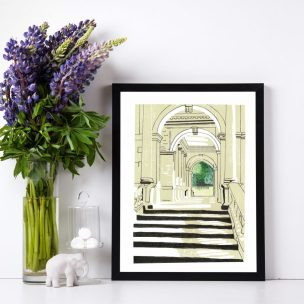 Palladian Bridge Limited Edition Lino Print and Watercolour Framed