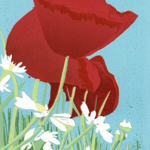 Poppies and Daisies limited edition reduction Lino Print unframed