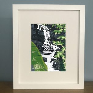 Waterfall limited edition reduction Lino print framed