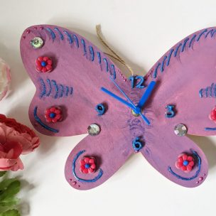 Fairytale purple sparkly Butterfly clock