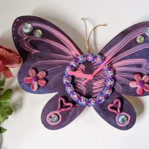 Purple Swirls Butterfly Clock