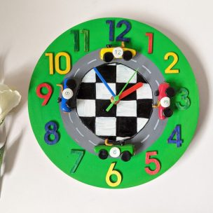 Racing field old fashioned racing car clock