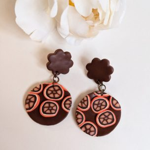 Orange and Brown funky drop earrings - flower shape